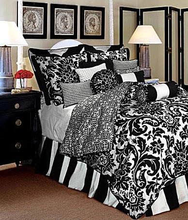 black and white bedding... just want the comforter:) Rose Tree symphony bedding