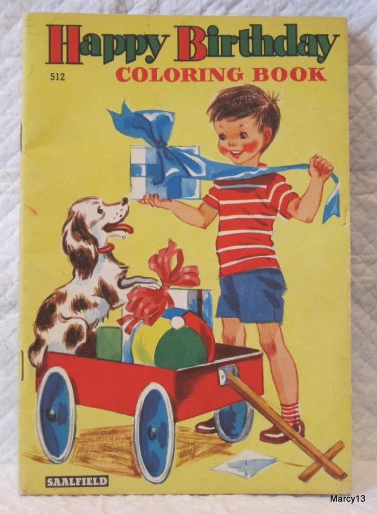1955 Saalfield Happy Birthday Coloring Book
