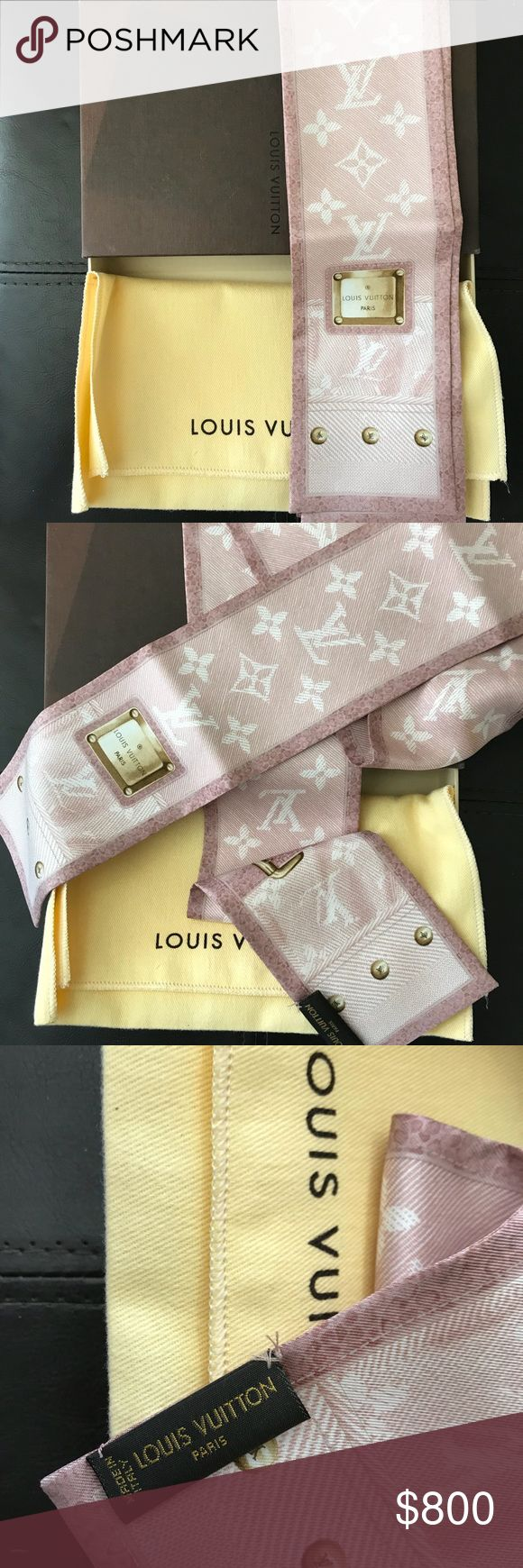 Louis Vuitton silk scarf/ twilly, Box included ((SOLD TO A FRIEND)) Purple LV logo neck scarf, in brand new condition. There is a mark on the top of the box, where it looks slightly faded near the edges. Comes with box and tan bag.   Price is firm due to Posh fees.   Please let me know if you wish to see additional photos. Louis Vuitton Accessories Scarves & Wraps