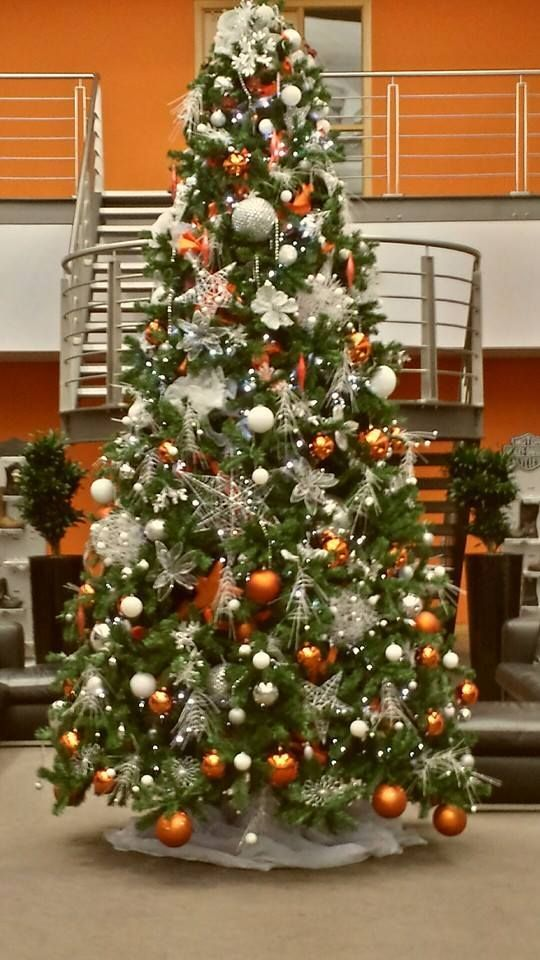 A christmas tree we designed for harley Davidson, Orange, silver and brass themed Christmas decorations, Office Christmas Trees