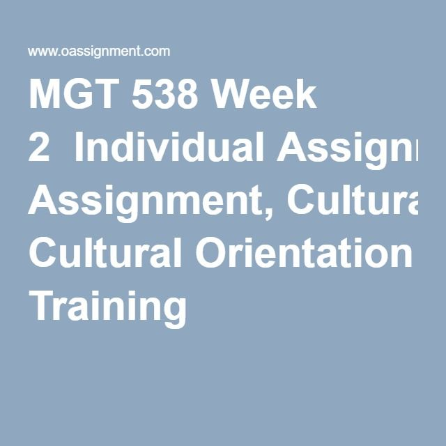 MGT 538 Week 2  Individual Assignment, Cultural Orientation Training