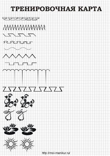 Тренировочная карта для росписи ногтей - простые и сложные элементы