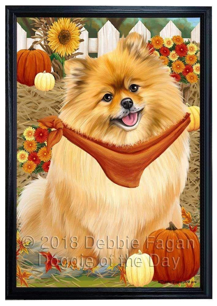 Fall Autumn Greeting Pomeranian Dog With Pumpkins Framed Canvas Print Wall Art Fcvs96042 Dog Canvas Art Framed Canvas Prints Dog Canvas