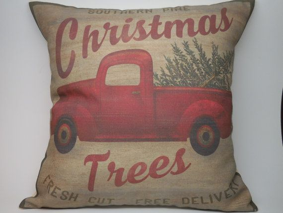 Vintage Truck Canvas Pillow Christmas Feed by PolkadotApplePillows