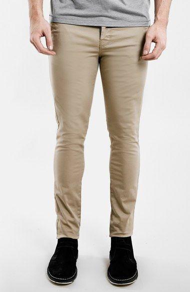 TOPMAN Khaki Solid Stretch Skinny Chinos Jeans Cotton Pants Men's 30x30 #Topman #KhakisChinos