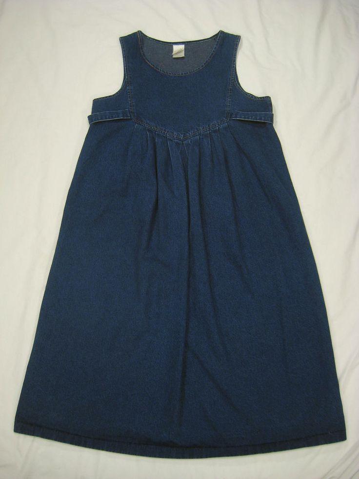 Vintage 80s 90s Denim SCHOOLGIRL Grunge Deep Armholes Pinafore Jumper Dress Jean #Varat