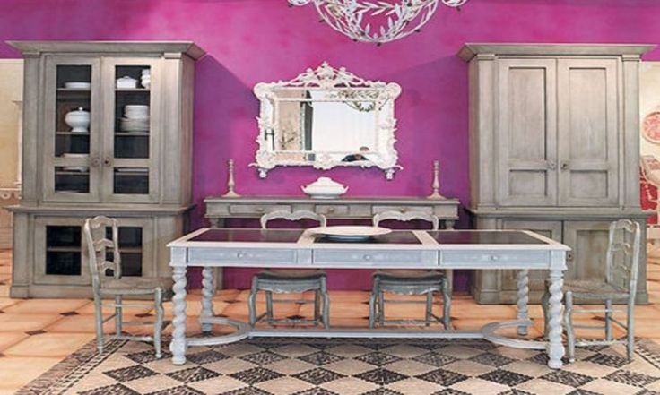 Dining Room Purple Wall Curio Cabinet Accent Mirror Buffet Table Candle Holder Grey Wooden Dining Set Cupboard Carpet Light Brown Tiles The Country Style: Country Style Dining Room