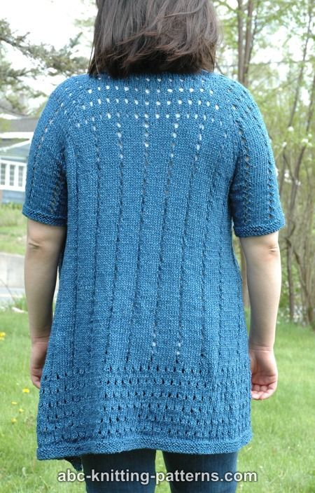 ABC Knitting Patterns - Denim Eyelet Cardigan