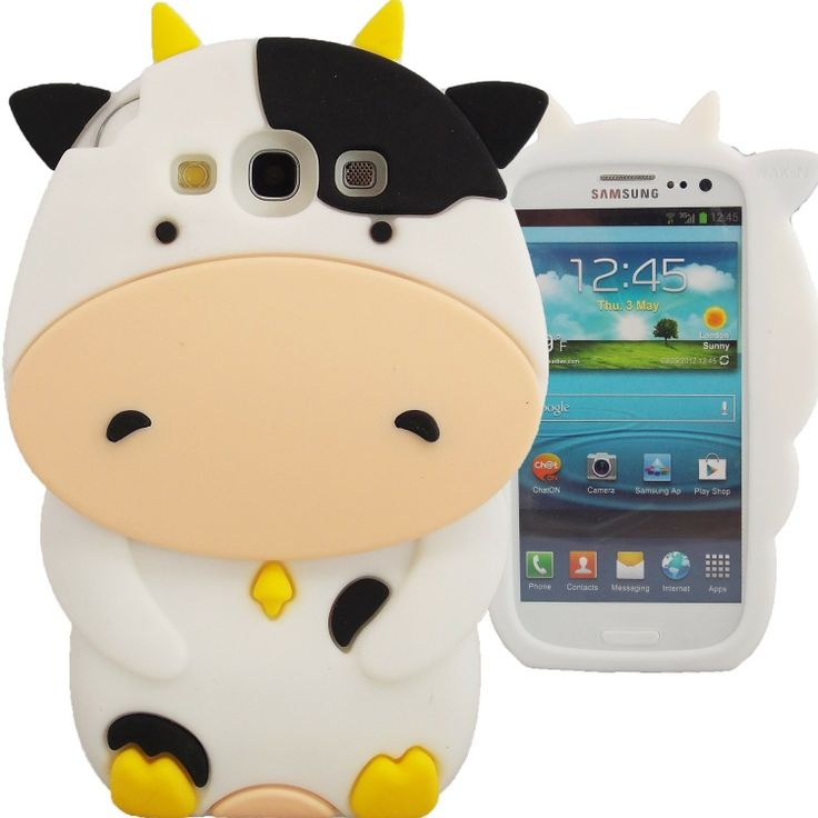 Cute 3D White Pet Cow Silicon Soft Case for Samsung Galaxy S3 i9300