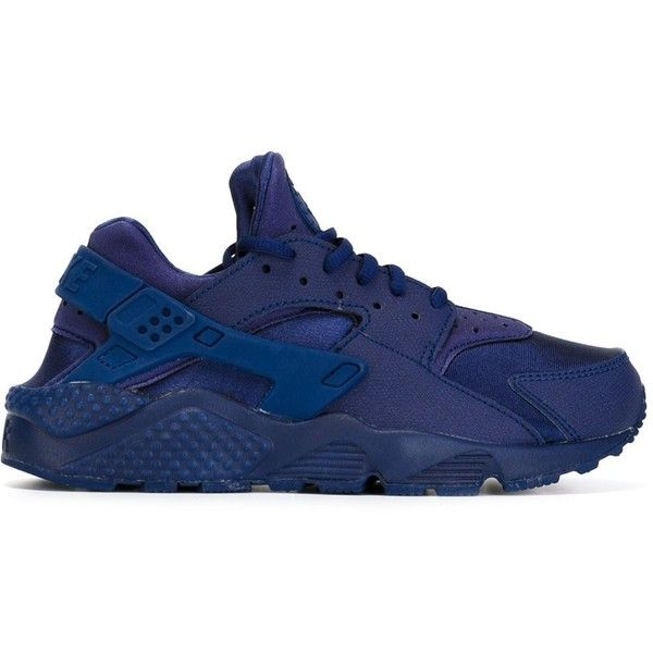 Nike Air Huarache Run Sneakers ($87) ❤ liked on Polyvore featuring shoes, sneakers, nike, huaraches, blue, leather trainers, blue leather sneakers, leather shoes, blue leather shoes and laced up shoes