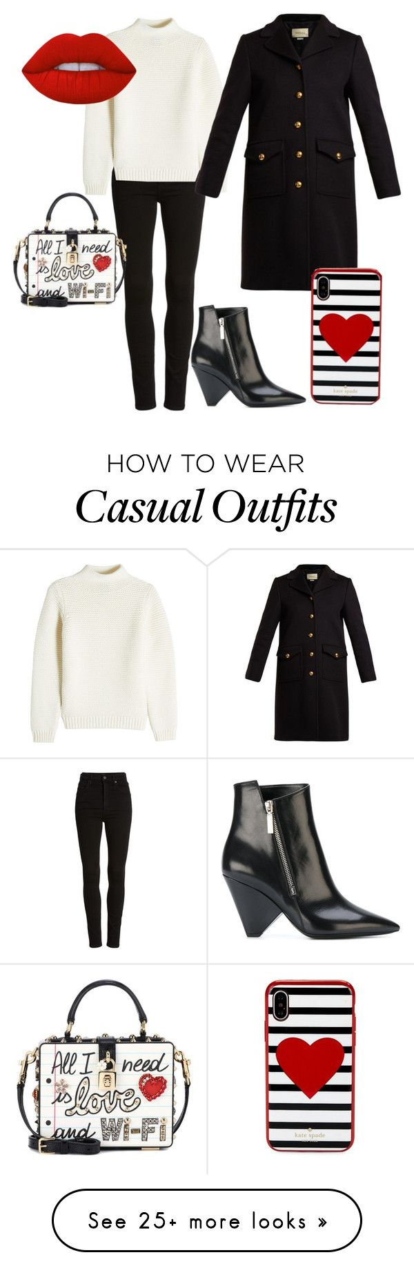 """""""Pritty Casual"""" by aleks-stanisavljevic on Polyvore featuring Citizens of Humanity, Dolce&Gabbana, A.P.C., Gucci, Yves Saint Laurent, Kate Spade and Lime Crime"""