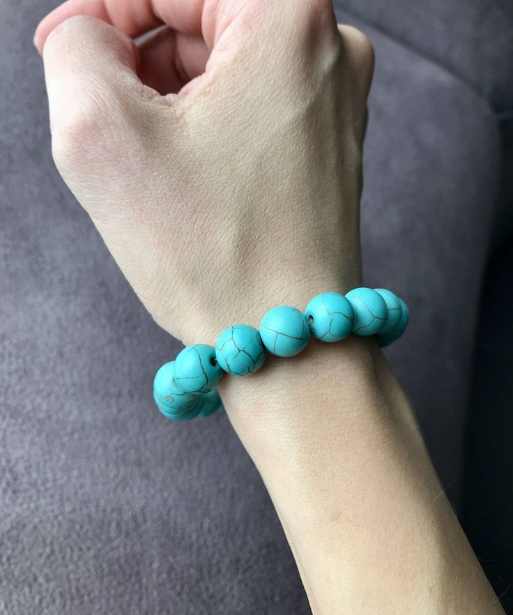 Turquoise Bracelet / 10mm Grade AA Beads / Stackable bracelet / Birth stone December / Wrist Mala Beads / Chakra bracelet/ Master Healer Turquoise: Birthstone – December Master Healer stone, this stone has the ability to balance our emotions and vibes. Please measure your wrist, so I can creat