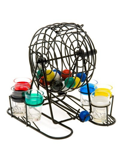 BINGO drinking game! Everyone choose a color and spin the balls and whose ever color is dropped they drink and refill the cup and just keep going till you run out of alcohol