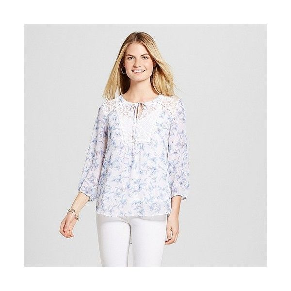 Women's Floral Printed Peasant Blouse with Lace Yolk ($28) ❤ liked on Polyvore featuring tops, blouses, blue, peasant blouse, blue lace shirt, floral blouse, blue floral blouse and white lace top
