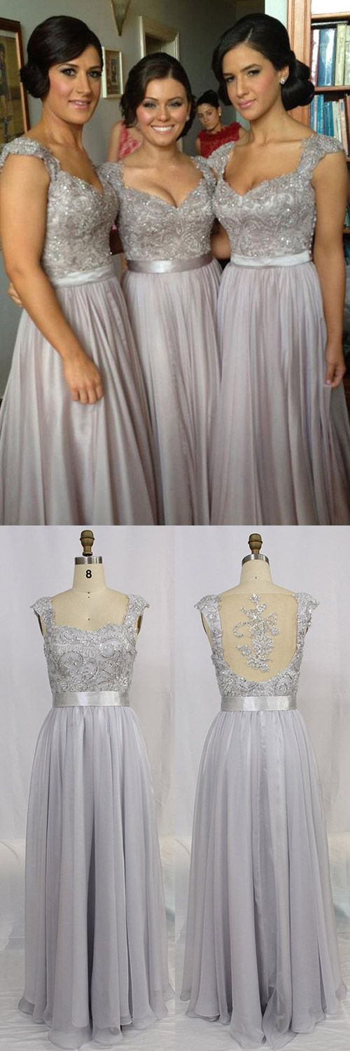 V-neck Prom Dresses Grey, Long Prom Dress Chiffon, Tulle Formal Party Dresses Lace Cap Straps