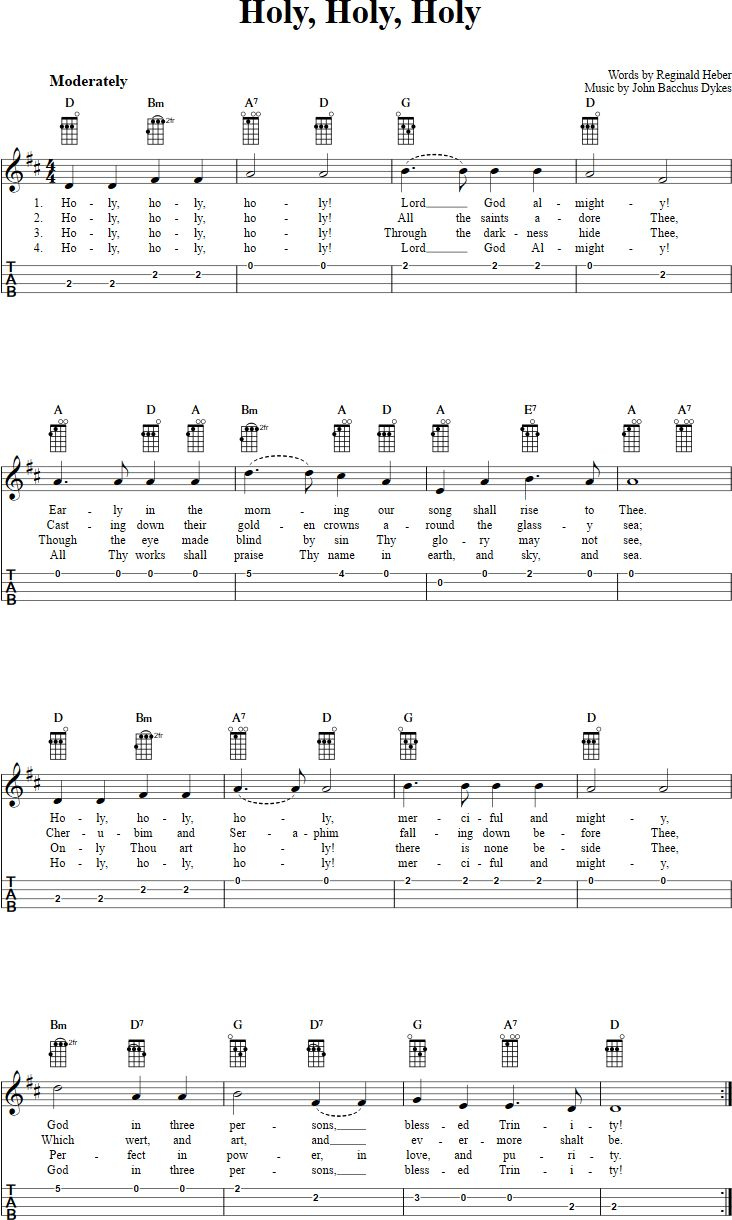 85 best ukulele images on pinterest guitars books and elvis presley free ukulele sheet music for holy holy holy with chord diagrams lyrics and tablature hexwebz Choice Image