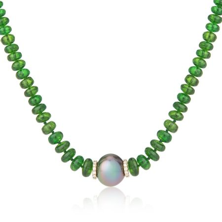 Matahina 11mm Tahitian Pearl & Chrome Diopside Cabochon Button Beads measuring approx. 4-6mm Necklace 18kt YellowGold