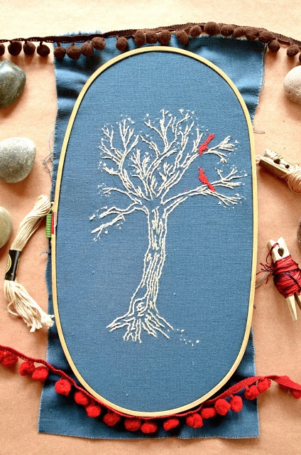 Idea: a all light blue and white scene with a red detail. Tree and birds embroidery