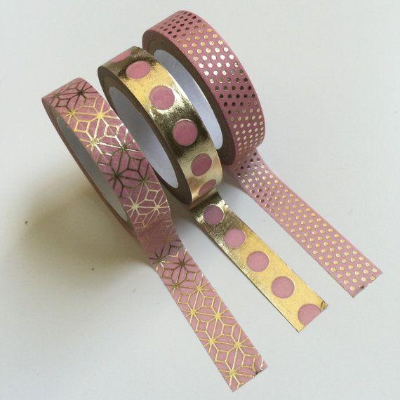 PINK & GOLD Washi Tape Set 3 Decorative craft tapes door TrulyTina