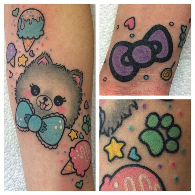 Tattooed @chrissasparkles doggy who passed away. Artwork done by her friend @MissKika. Also added a hello kitty bow and some candies. Thanks girl!!!