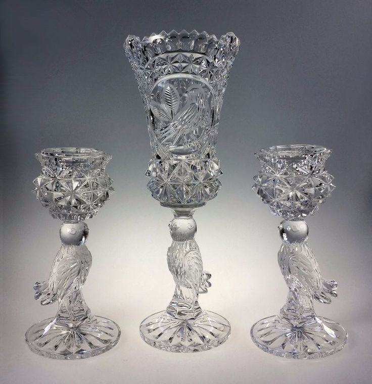 Bleikristall Lead Crystal Glass Bird Centerpiece Set Candle Holders Vase Germany Bleikristall