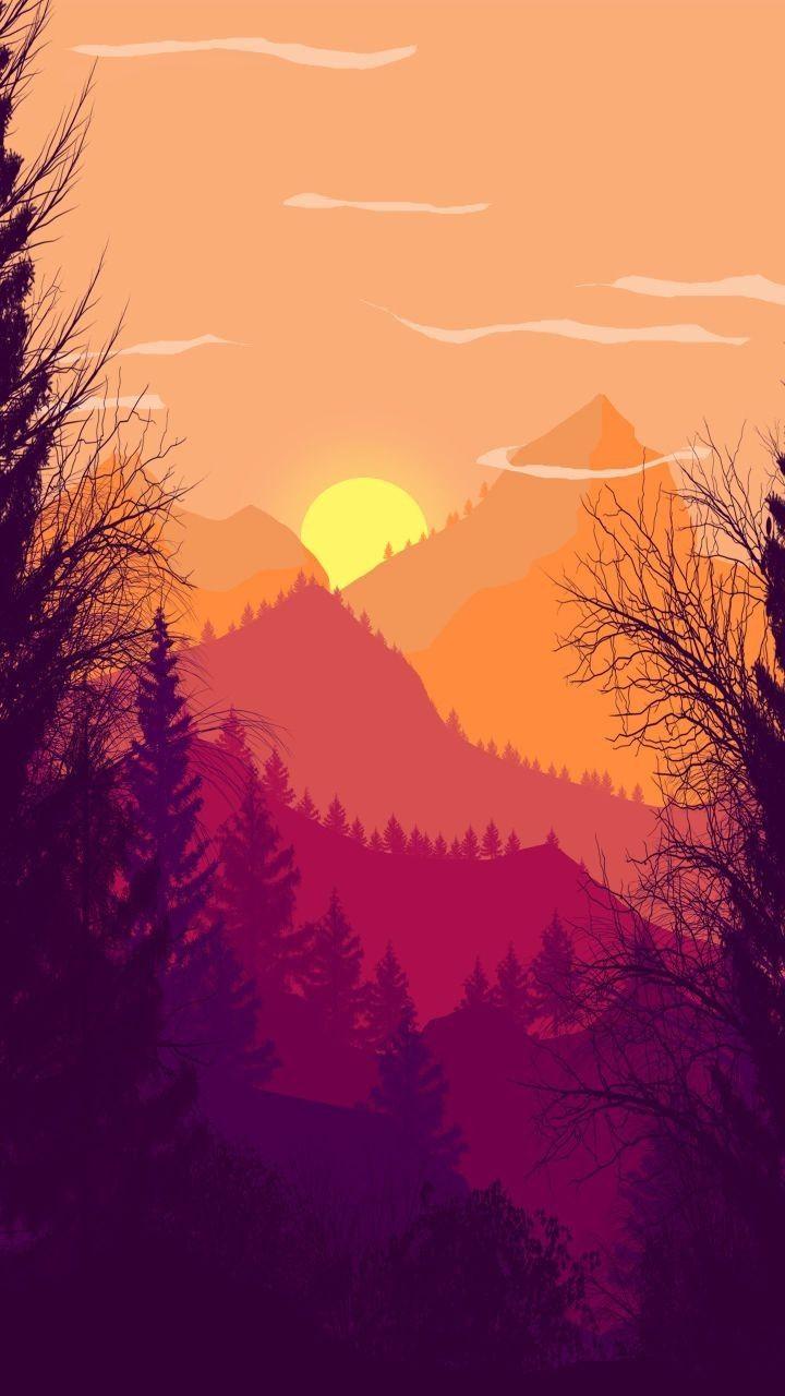 Beautiful Illustration Sunset Iphone Wallpaper Nature Art Painting Art Wallpaper