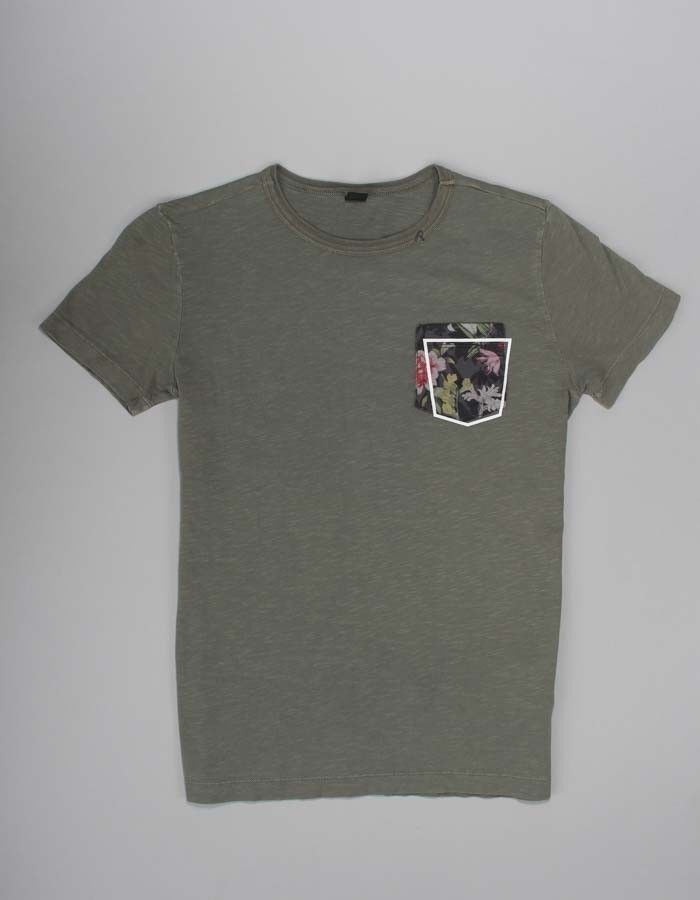 Replay Khaki Flower Pocket Print T-shirt | Accent Clothing
