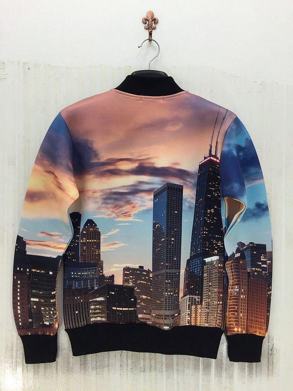 2014 осень новые приходят мужчины / женщины куртка рубашки 3D забавный печать нью йорк пейзаж новинка пальто осень / зима свободного покроя топыкупить в магазине HongKong MFL clothes co.,ltdнаAliExpress