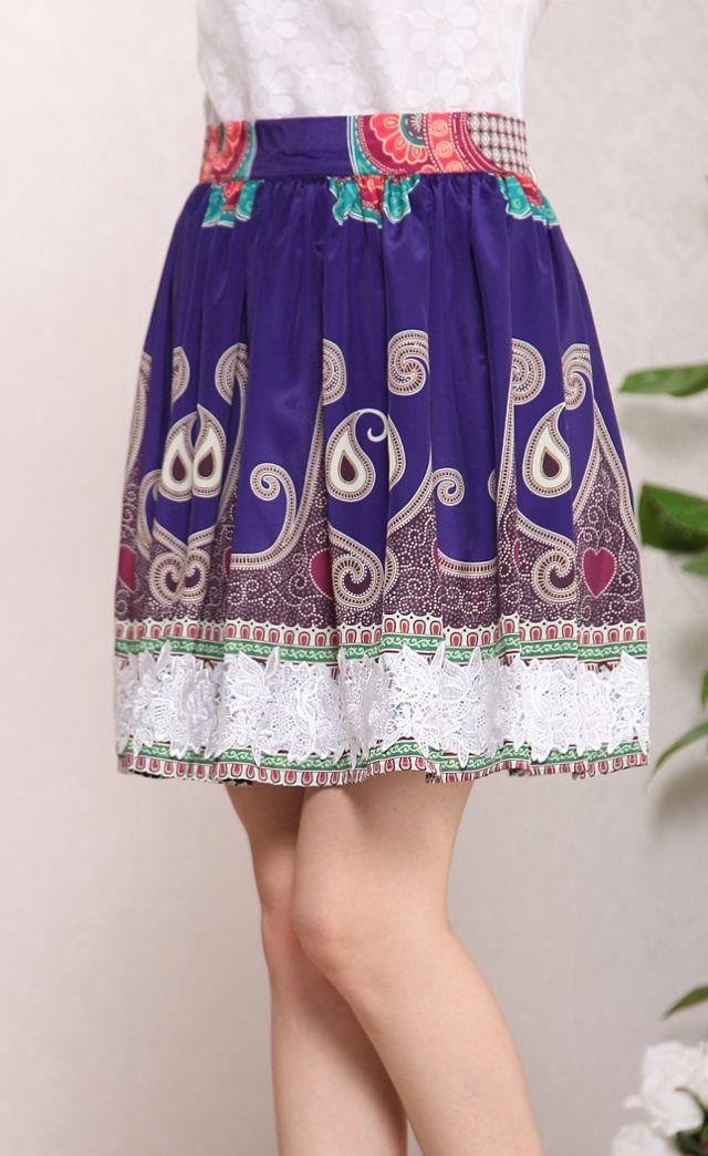 #SheInside Blue Paisley Print Flowers Applique Skirt - Sheinside.com