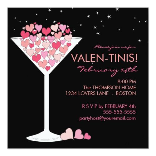 85fb55a24d8785c54029e86e8b4b8842 valentines day party martinis - Valentine's Day Party Invitations Valentini Martini Valentines Day Party Inv...