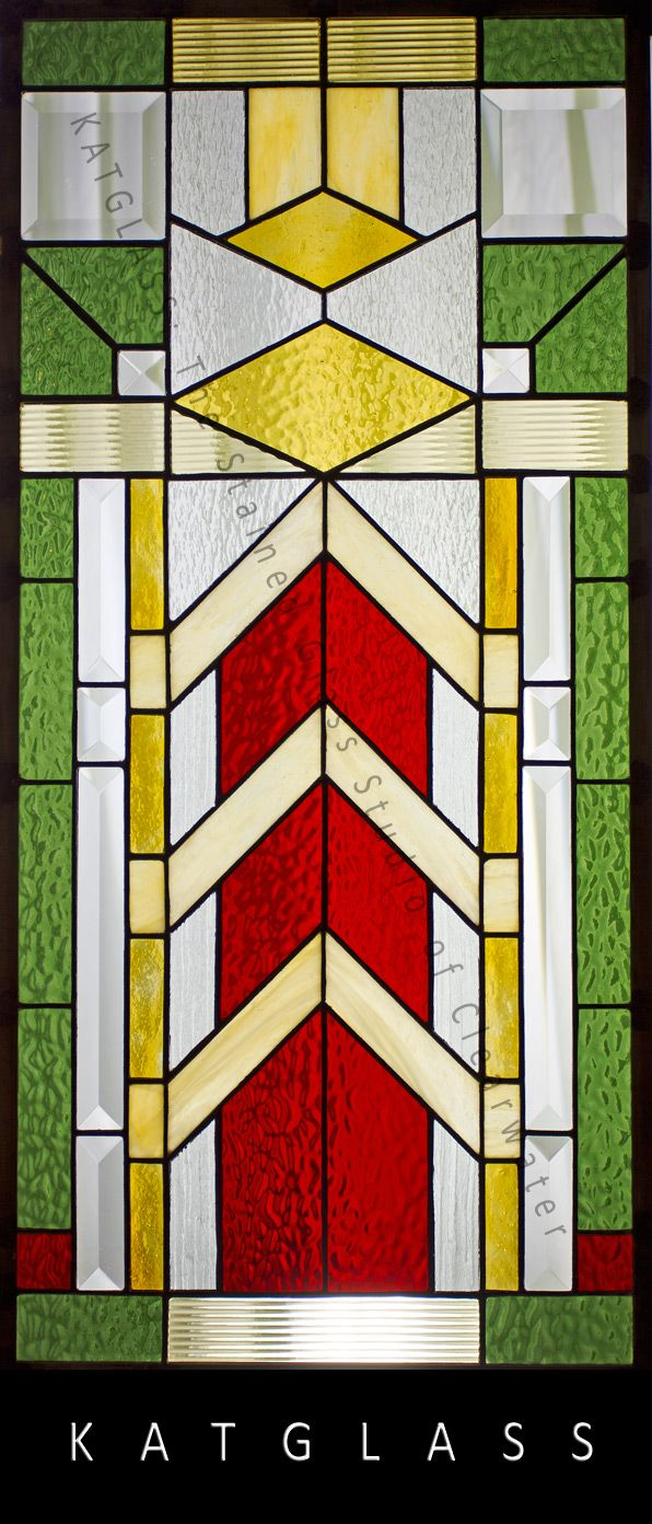 Beach theme decoration stained glass window panels arts crafts - Frank Loyd Wright Inspired Stained Glass Window Panel