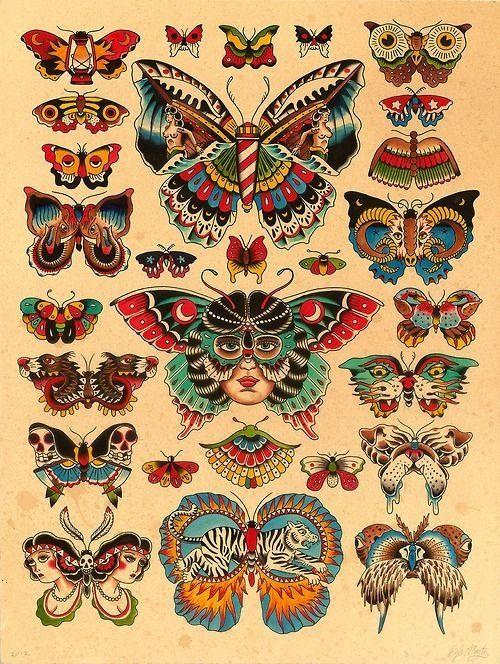 old butterflies tattoo
