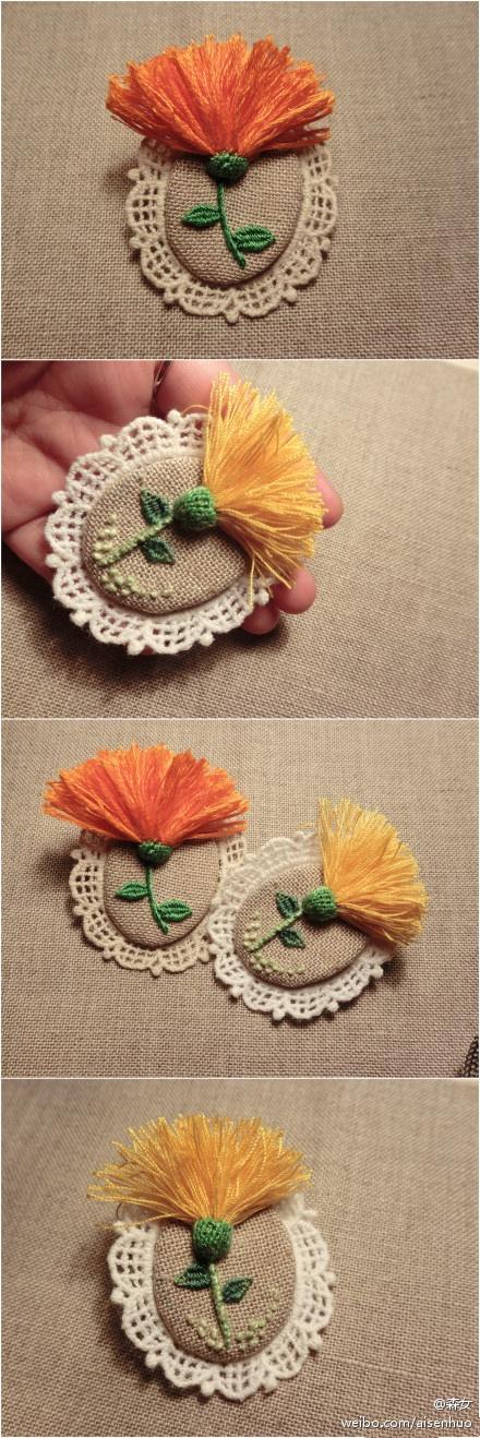 被采撷而来,点缀了你的花衣裳,也随之带来一股清新怡人的风情。所需材料:DMC绣线、麻布、针、线、蕾丝片、胸针扣
