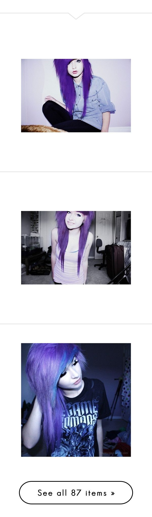 """""""Where are you and I'm so sorry I cannot sleep I cannot dream tonight I need somebody and always This sick strange darkness Comes creeping on so haunting every time [MAY BE TRIGGERING TO SELF HARMERS]"""" by i-sleepwithsirens ❤ liked on Polyvore featuring hair, people, girls, purple hair, pictures, quotes, words, text, fillers and sayings"""