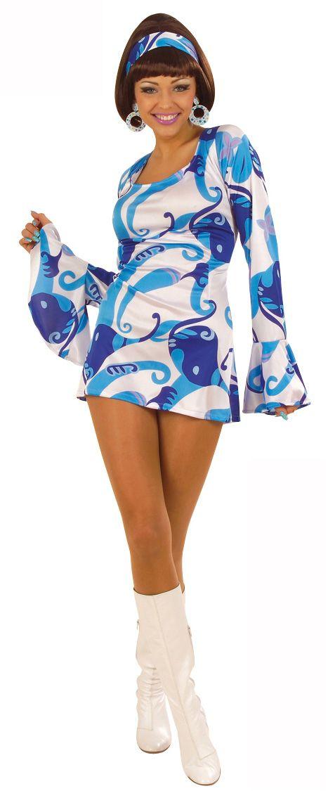 Disfraz azul estilo disco para mujer: Este disfraz estilo disco para mujer se compone de un vestido y una cinta para el pelo. El vestido es de color azul y blanco satinado con motivos estilo años 70. La cinta para el pelo va a...