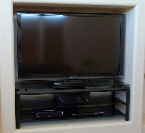 60 inch Techcraft discount flat screen with 3 tempered glass shelves