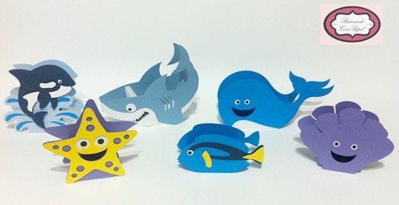 Caixa fundo do mar confeccionado com papel 180g.    Valor unitário.    Escolha a cor e o modelo.    Vários animais do fundo do mar. Consulte-nos.    Dependendo da quantidade, o prazo de produção será alterado.