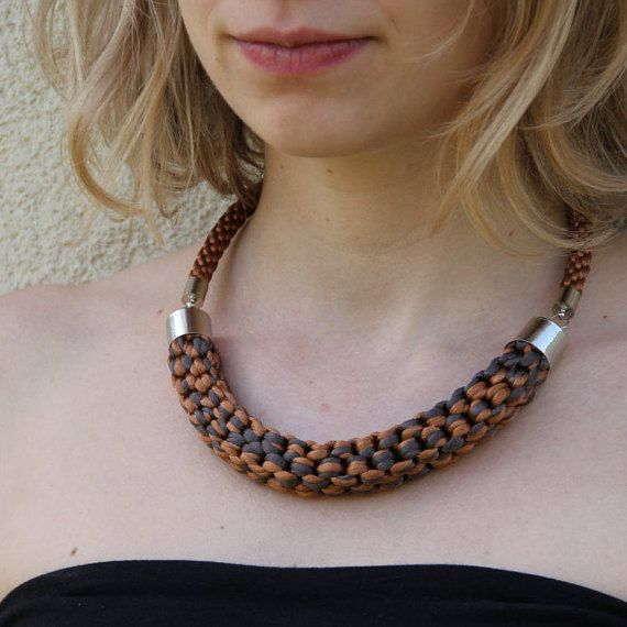 Brown and grey knotted satin rope necklace by SophiesKnotShop