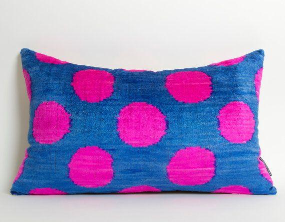 Ikat Silk Velvet Pillow Cover Neon Pink Polka Dots by pillowme