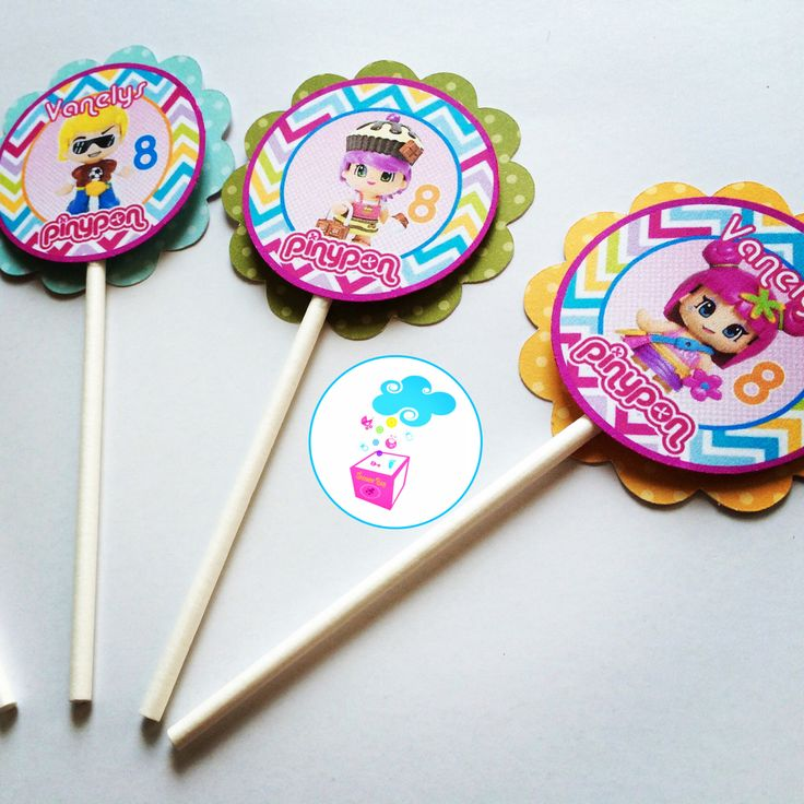 Pinypon birthday Cupcake toppers #myshowerbox.com