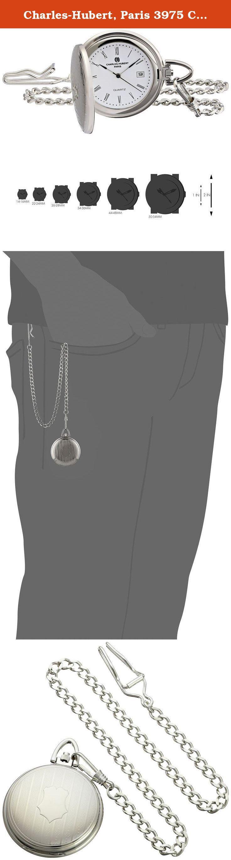 Charles-Hubert, Paris 3975 Classic Collection Analog Display Japanese Quartz Pocket Watch. Decorated hunter case. Date window. Japanese-quartz Movement. Case Diameter: 42mm. Not Water Resistant.