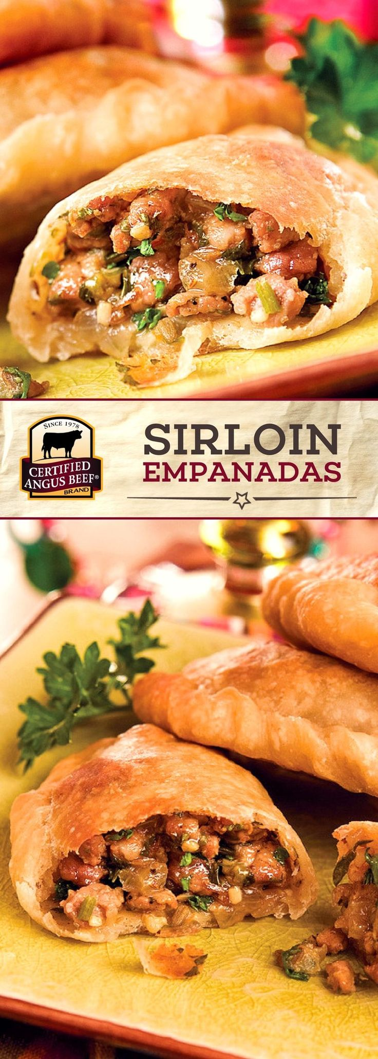 Sirloin Empanadas combines top sirloin or tri-tip steak with a blend of delicious spices, green chilies, and onion for a TASTY beef recipe! This dish makes a great appetizer recipe or main dish, and is PERFECT for game day! #beeffoodrecipes