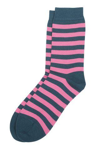 Raitsu Unisex Striped Socks Pink/Deep Teal   Kiitos Marimekko