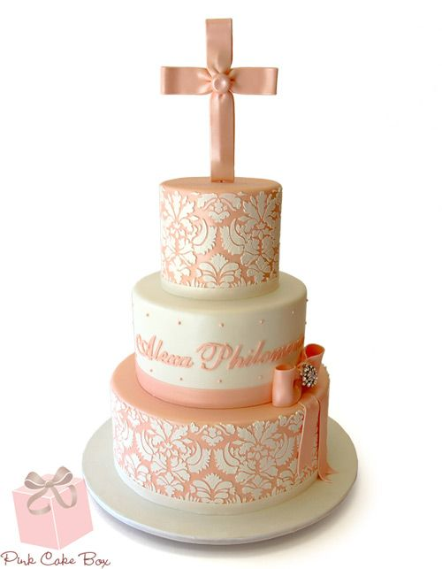 First Communion Damask Cake | http://blog.pinkcakebox.com/first-communion-damask-cake-2013-05-17.htm