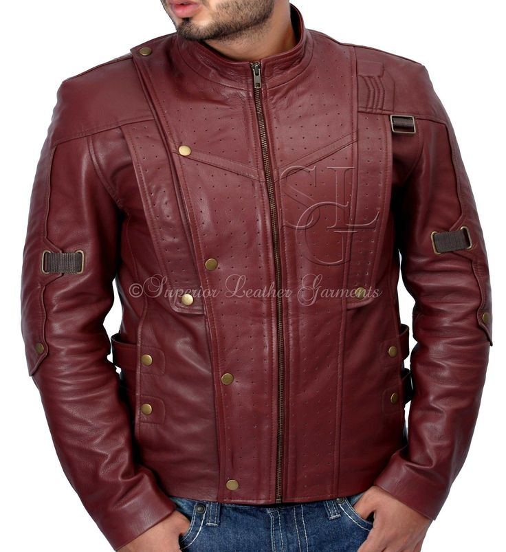 Guardians of the Galaxy STARLORD Chris Pratt Red SLIM FIT GENUINE Leather Jacket