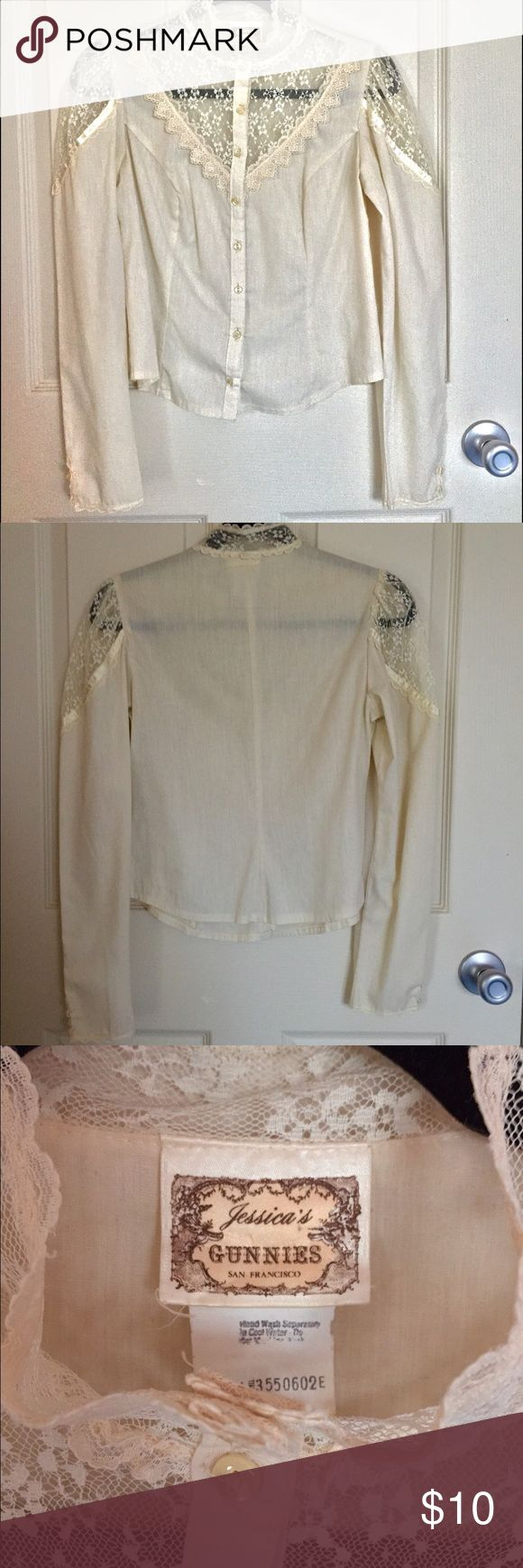 Vintage Gunne Sax top Genuine Gunne Sax top. Perfect for layering with a pinafore or dress. In excellent vintage condition. Mostly sheer but can be fixed with a nude cami underneath. Selling because it no longer fits my personal style. Jessica McClintock Tops Blouses