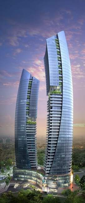 Media Luna Torres, complejo residencial, Bakú, Azerbaiyán. Diseñados por Heerim arquitectos y planificadores.  37 y 46 pisos.
