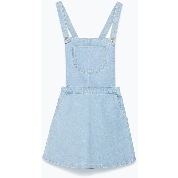 Zara Dungarees With Skirt (£18) ❤ liked on Polyvore featuring jumpsuits, dresses, skirts, overalls, bottoms, jumpsuit, light blue, overalls jumpsuit, zara jumpsuit and jump suit