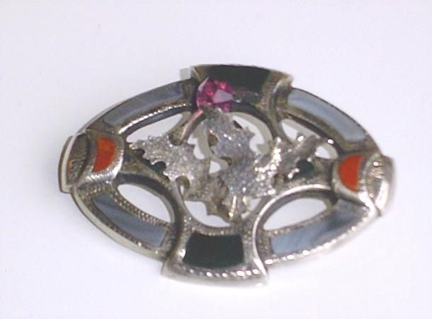 Antique Sterling Silver Scottish Pebble Brooch with Montrose Agate