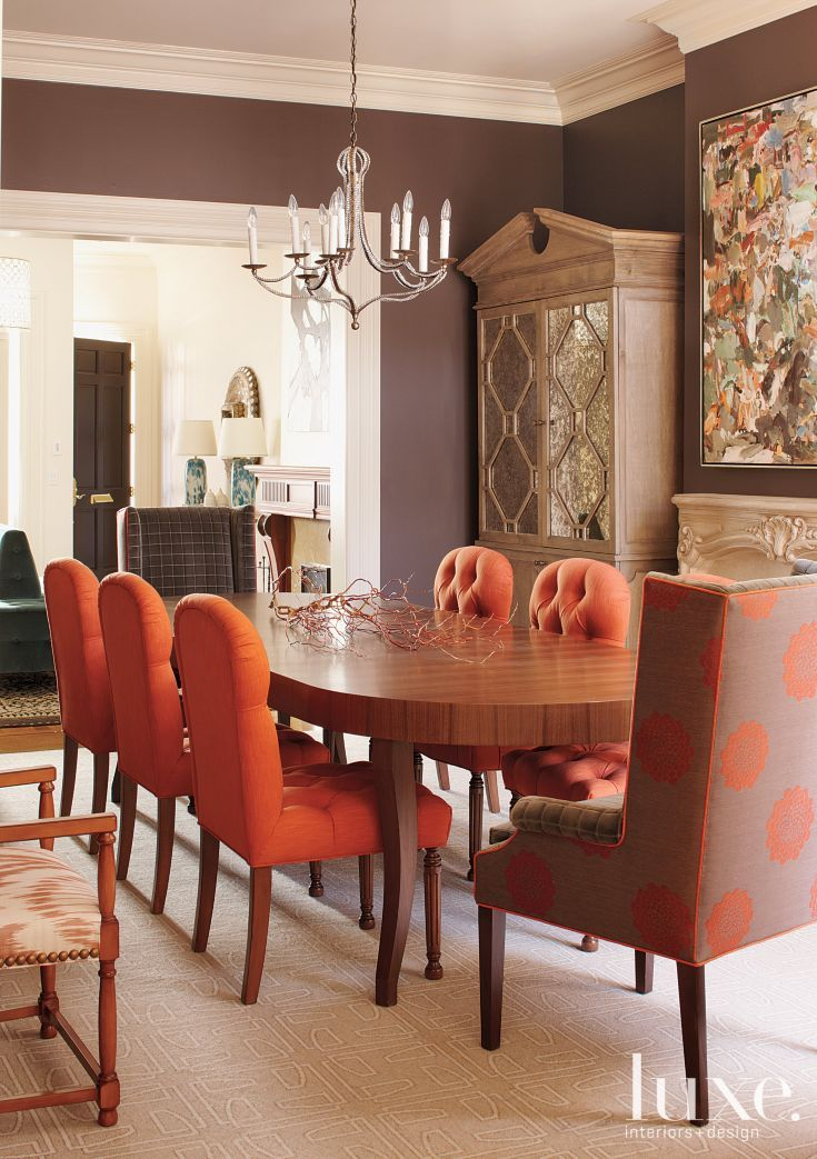 Taupe and orange transitional victorian dining room luxe for In n out dining room hours